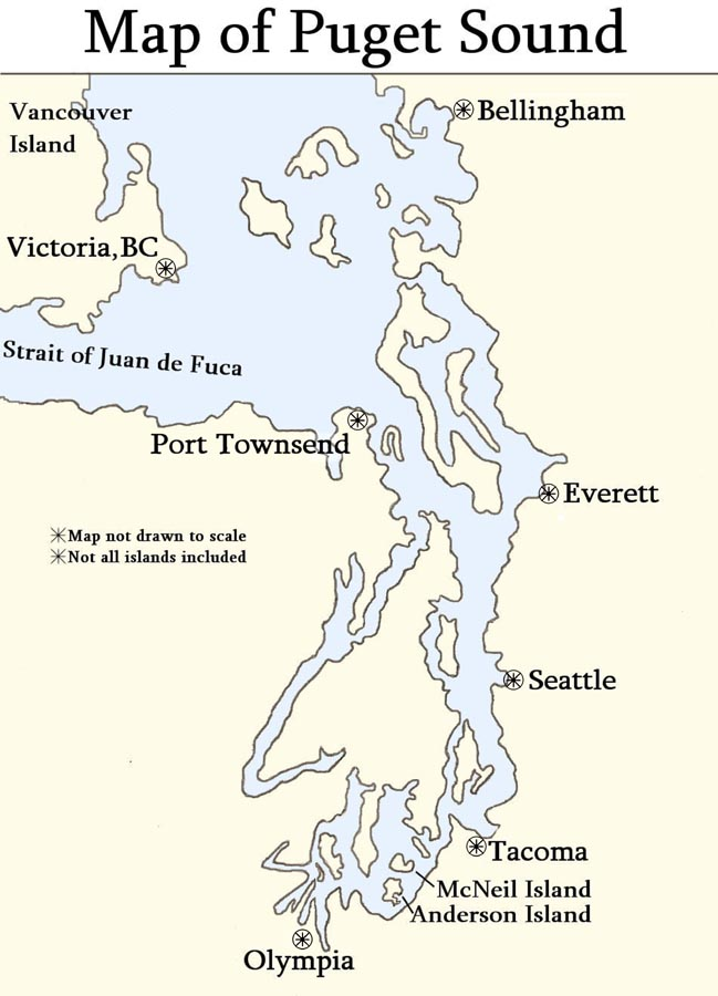 Steamboats How Chris Knutsen Traveled Around Puget Sound - Puget-sound-on-us-map