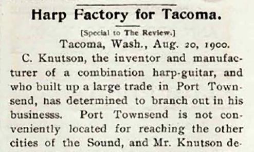 Knutsen's First Tacoma Harp Guitar Factory