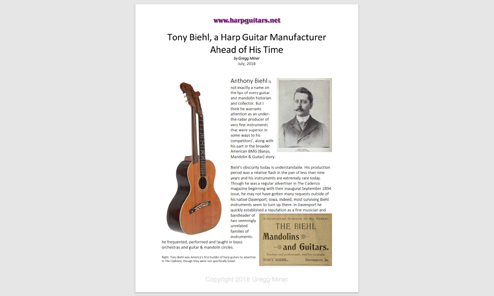 Historical Luthier and Featured Harp Guitar of the Month